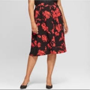 NWT Who What Wear red/black print skirt